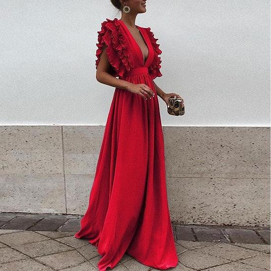 Ruffles Petal Sleeve, Deep V-Neck Backless Maxi Dress
