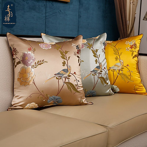 Floral Bird Embroidered Cushion Cover
