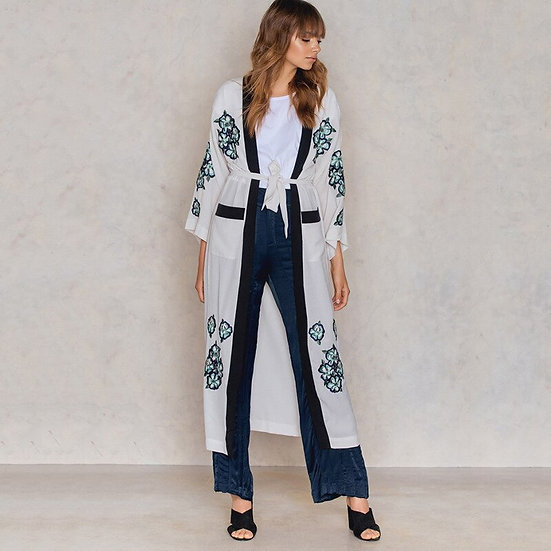 Embroidered Flower Kimono with Pockets
