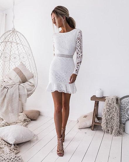 Long Sleeve Backless White Lace Mini Dress