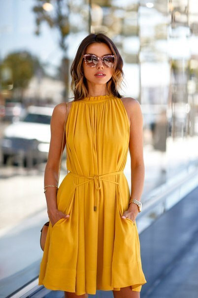 High Neck Yellow Dress with Pockets