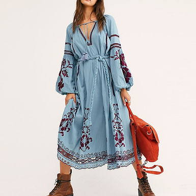 French Romance Floral Embroidery Puff Sleeve Lace Trim Maxi Dress