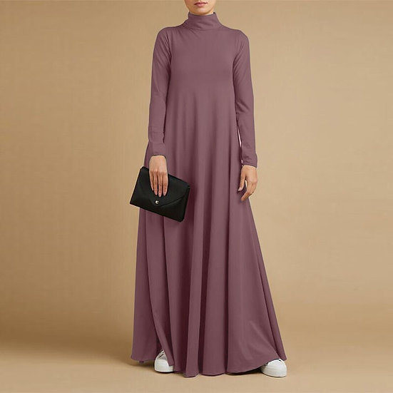 Turtleneck Long Sleeve Maxi Dress with pockets