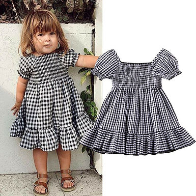 Gingham Short Sleeve Ruffle Dress Sizes 1-4 years