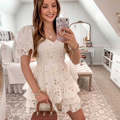 White Embroidered Lace Party Dress