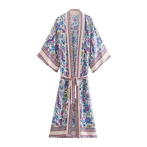 Peacock Floral Print Vintage Kimono