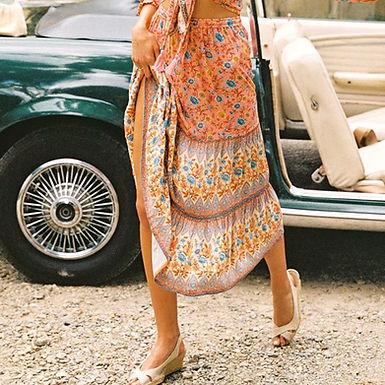 Floral Print High Waist Midi Skirt