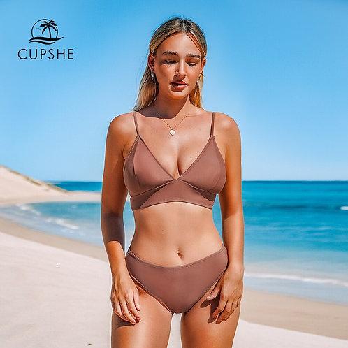 Brown Triangle Mid Waist Bikini