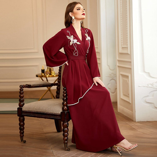Embroidered Flared V-Neck High Waist Maxi Dress