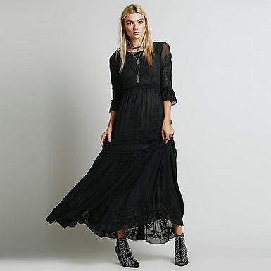 Flare Sleeve Bohemian Maxi Dress