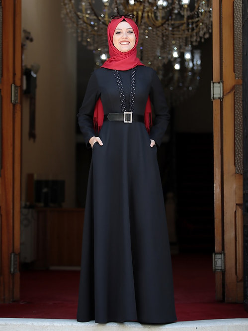 Belted Maxi Dress With Pearls (Plus Sizes available)