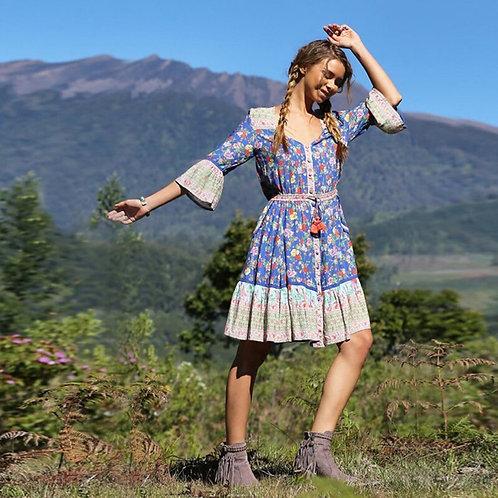 Floral Midi Dress Flare Sleeve