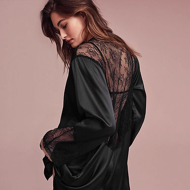 Black  Lace Back Satin Robe