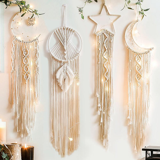 Moon and Star Macrame Tapestry