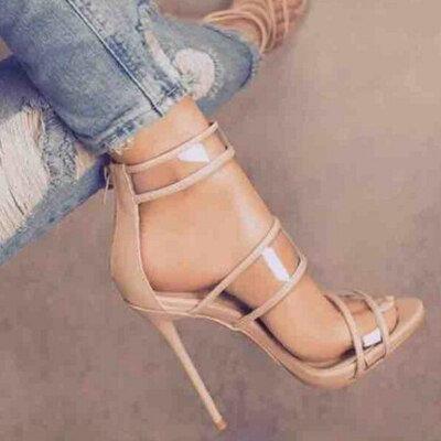 Peep Toe Triple Strap Heels
