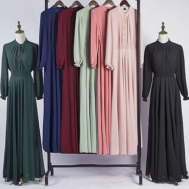 Buttoned elastic waist Long sleeve Maxi Dress