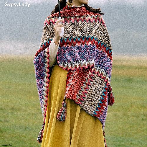 Vintage Boho Knitted Poncho
