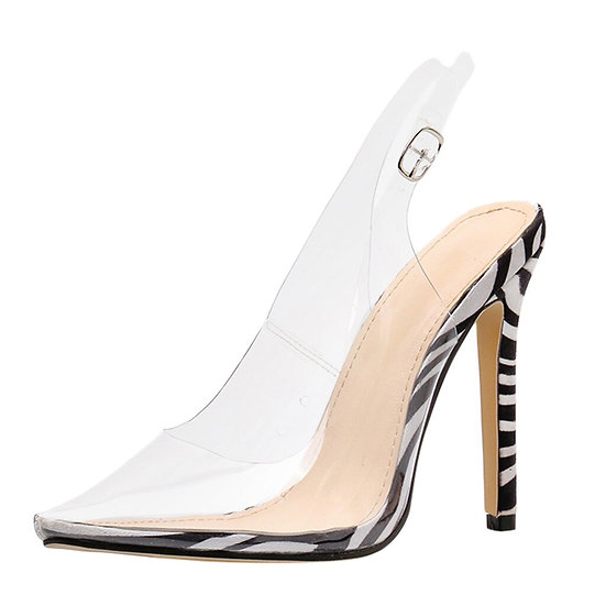 Zebra Pointed Toe Clear Heels