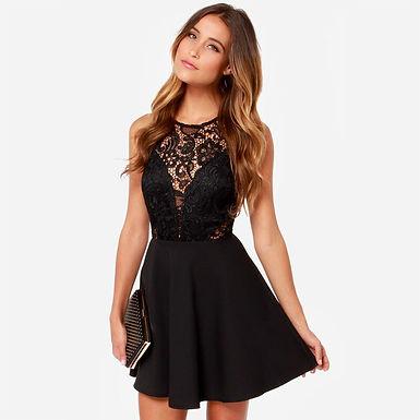Black Lace Dress v Back Mini Dress