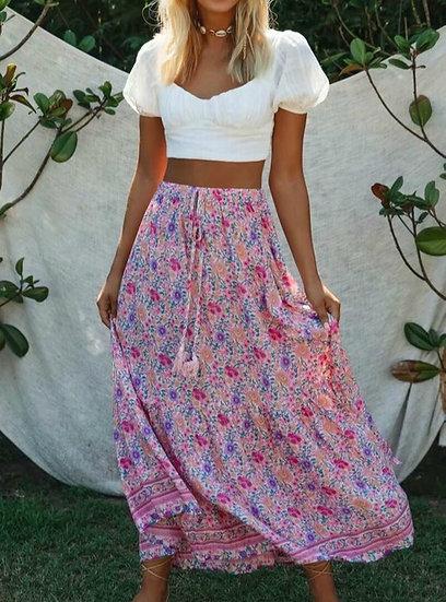 Pink Floral Print Elastic Waist Maxi Skirt