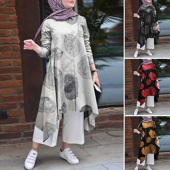 Printed Long Tunic Top (Plus sizes available)