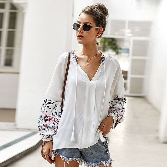 White Floral Embroidered  Blouse