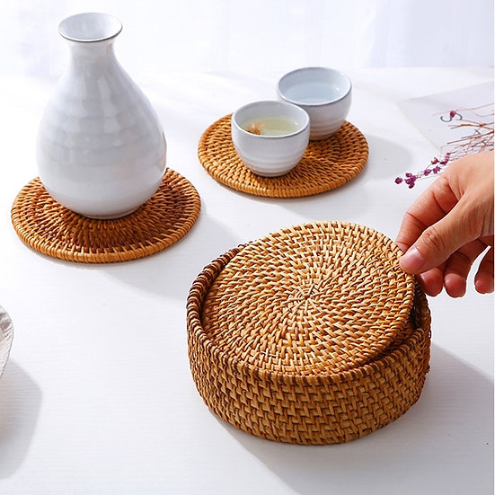 6PCS Coasters  Natural Corn Straw
