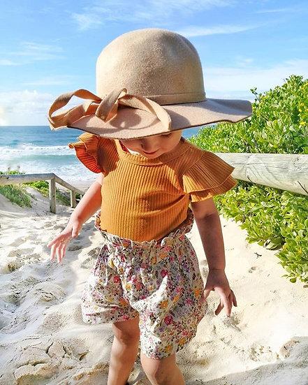Bodysuit + Floral Shorts + Headband  Sizes 6-24 months