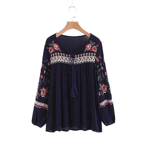 Boho Floral Embroidery Blouse
