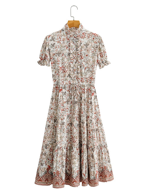 Vintage Floral Print Short Sleeve Midi Dress