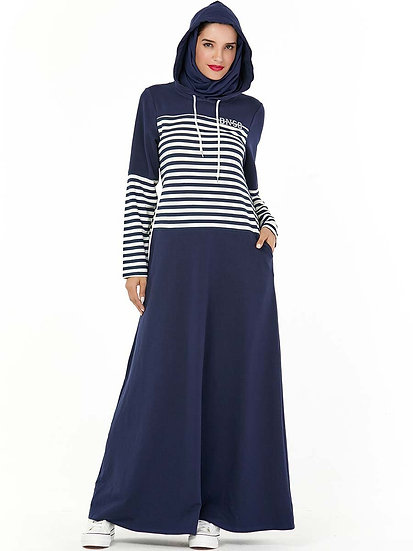 Navy Stripe Hooded Maxi Dress (Plus Sizes Available)