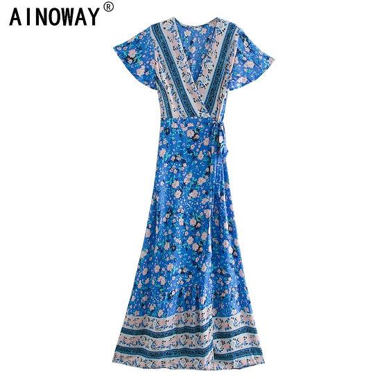 Blue Vintage Floral Print Wrap Maxi Dress