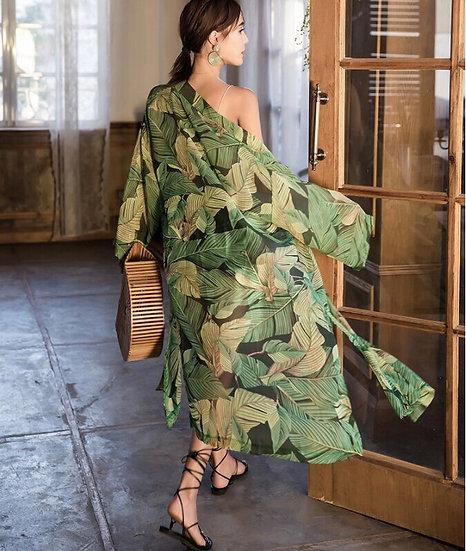 Green Floral Chiffon Kimono