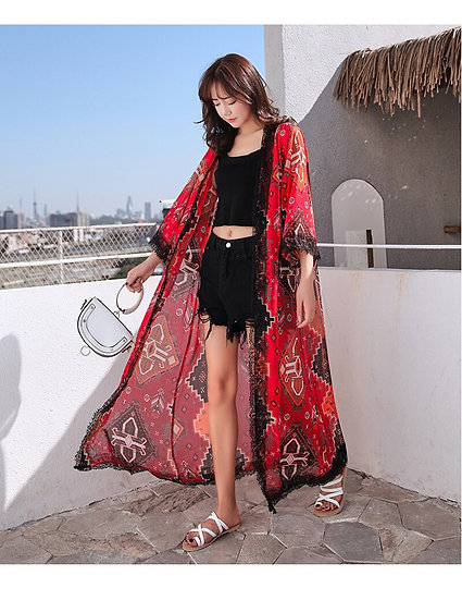 Chinese Print Red Kimono