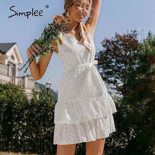 White Women Embroidered Ruffle Mini Dress