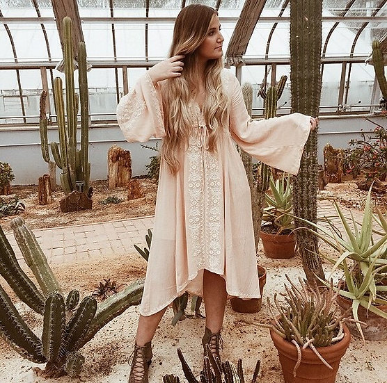 Long Sleeve Vintage Floral Embroidered Cotton Long Dress