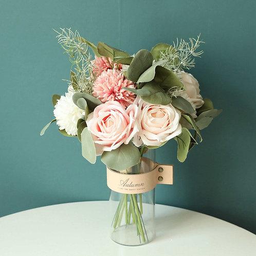 Artificial Silk Flowers Rose Eucalyptus Hybrid Bouquet