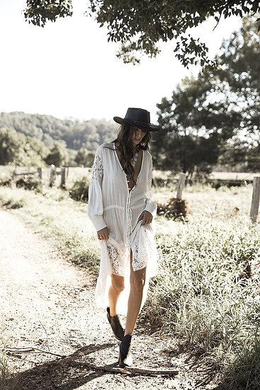 White Lace Button up Kimono