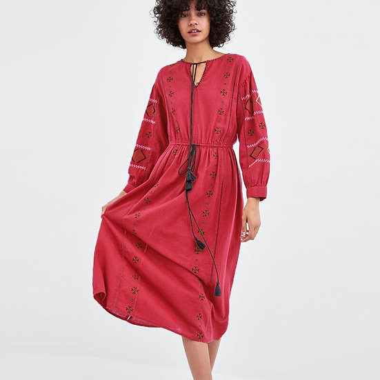 Embroidered Lantern Long Sleeve Boho Dress