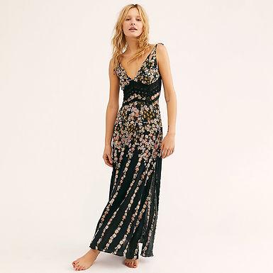 Floral Print, V-Neck, Maxi Dress