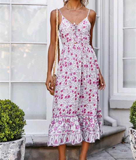 Pink Floral Spaghetti Strap Midi Dress