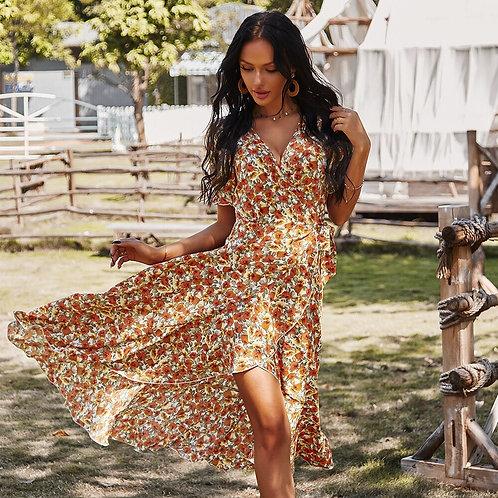 Floral Short Sleeve V-Neck Wrap Dress