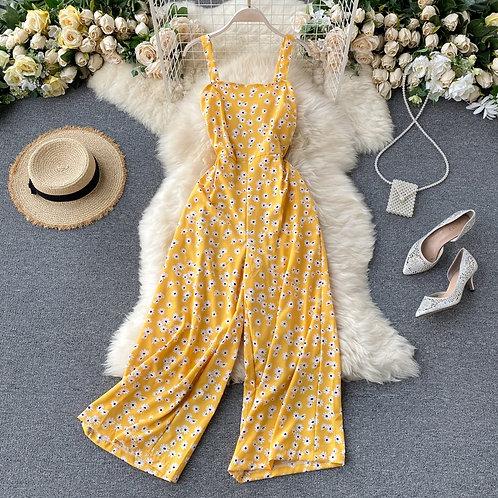 Floral Print Jumpsuit Summer Full Length