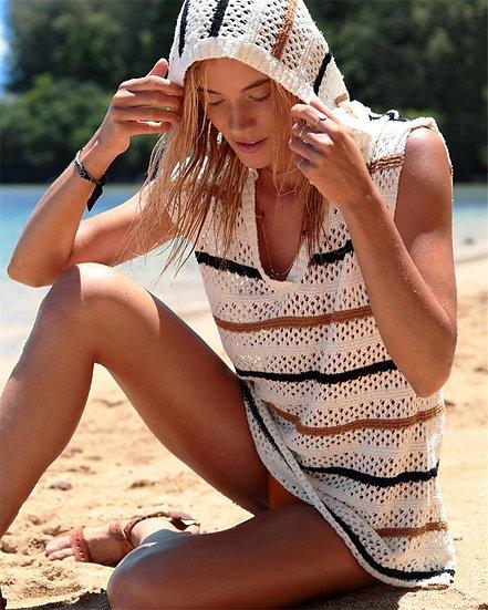 Crochet White Striped Sleeveless Hoodie COVER UP