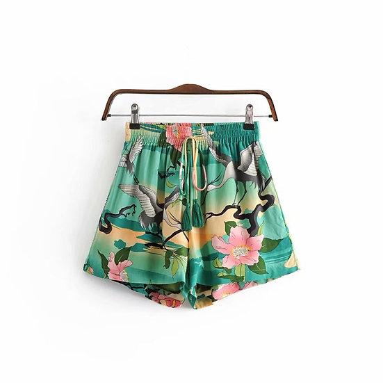 Boho Crane Print Shorts