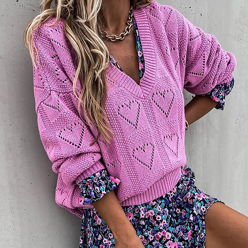 Heart V-Neck Knitted Sweater