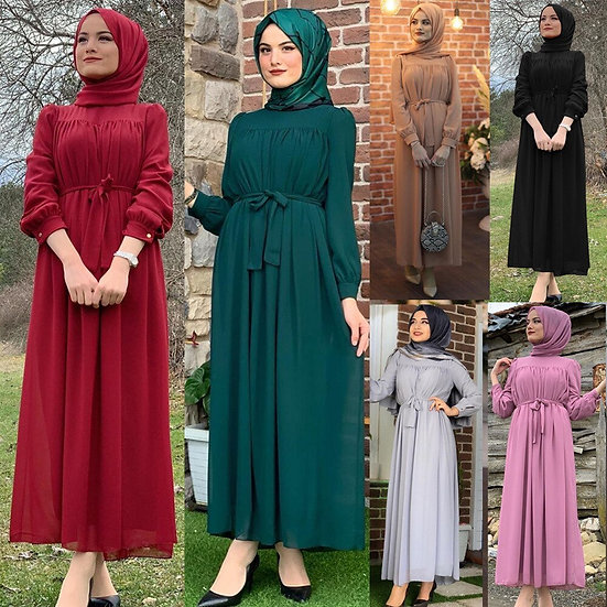 High Waist  Ankle-Length Chiffon Dress