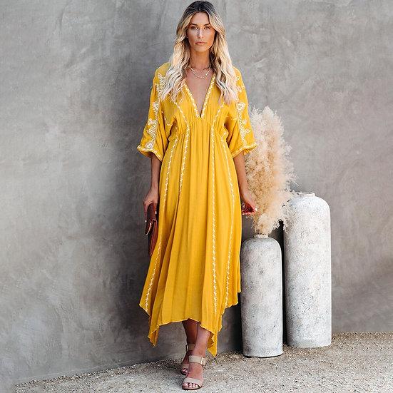 Yellow V-Neck Kimono Sleeve Dress