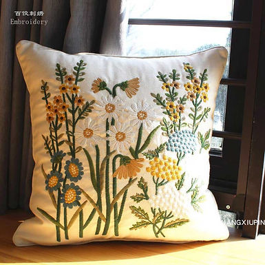 Embroidered European Floral Cushion Cover