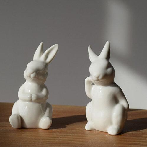 Ceramic Cute White Rabbit Figurines